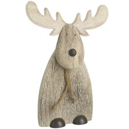 Natural Wood Deer Decoration, 30cm