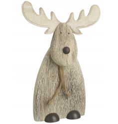 A natural wooden reindeer decoration with scarf. An irresistible gift this season!