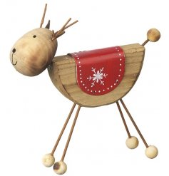 A gorgeous wooden reindeer decoration with red coat.
