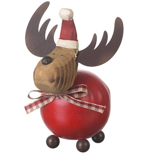 A jolly reindeer decoration with round belly and feet, metal antlers and a wooden red Santa's hat.