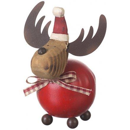 Round Wooden Reindeer, 12cm