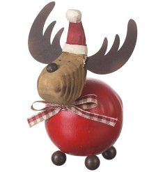An adorable wooden reindeer decoration with a gingham bow and metal antlers.