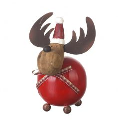 An adorable wooden reindeer decoration with gingham bow. A must have this season!