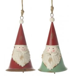 A mix of 2 red and green vintage style metal Santa decorations with bells.