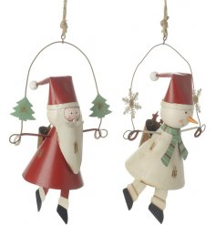 An assortment of 2 vintage metal Santa and Snowman hanging decorations. A must have this season.