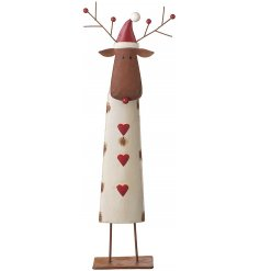 Metal reindeer decoration with red hearts on the front