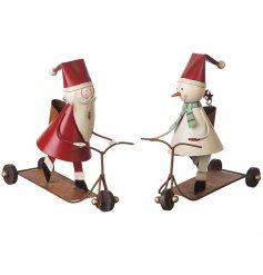 Fun yet chic metal Santa and Snowman decorations on scooters.