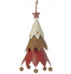 A charming metal 3D tree hanger with rustic bells, red star and a jute hanger.