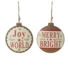 Vintage style rustic metal baubles with brightly coloured Christmas slogans.