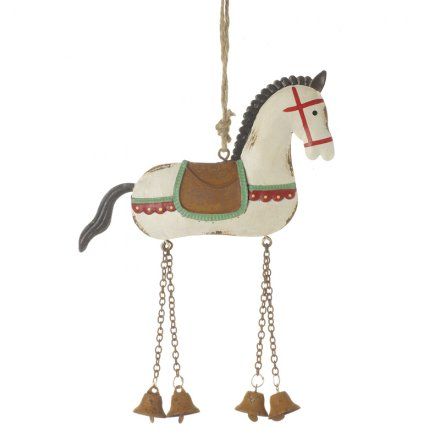 Christmas Horse Decorations.Ffx1318 Metal Hanging Horse Dec 21cm 28917 Christmas