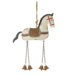 Painted hanging horse decoration with bell design
