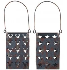 2 assorted reindeer and star square lanterns with a chic rustic finish.