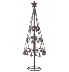 A rustic style 3D tree decoration with bells.