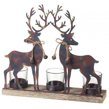Triple T-Light W/Reindeer