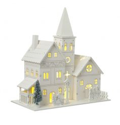 A stunning wooden church ornament with LED lights. A contemporary twist on a classic Christmas image.