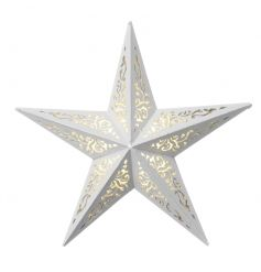 A stunning 5 point star in white with a decorative pattern and LED lights.