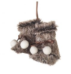 Hang these gorgeous faux fur booties with pom poms from your festive tree or handles.
