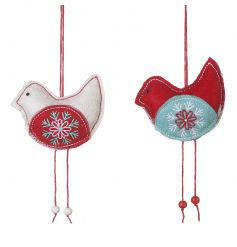 A mix of charming fabric bird decorations with beads and beautifully embroidered flowers.