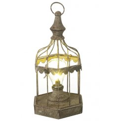 A unique birdcage lantern in iron with an LED light.