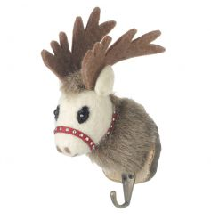 A woodland style reindeer hook set on a bark plaque. Perfect for stockings and seasonal home decor!