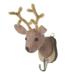 A charming wool reindeer decoration set on a bark plaque. Perfect for seasonal decoration and stockings.