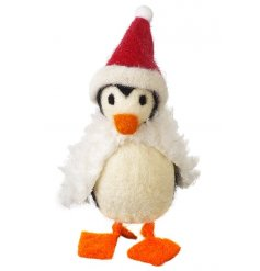 An adorable wool penguin decoration in santa outfit.