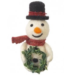 A traditional wool snowman ornament with a twist. Including festive hat, scarf and wreath.