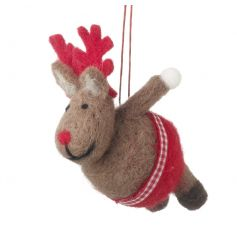 An adorable hanging wool reindeer decoration with red shorts.