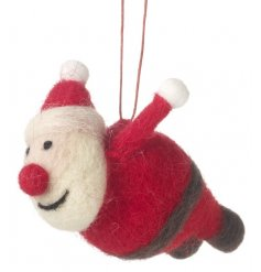 A jolly flying santa decoration making a cute and unique decoration this season.
