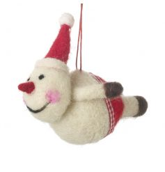 An adorable bashful flying snowman decoration with festive shorts and hat.