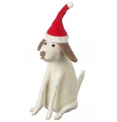 Unique festive sitting dog ornament with santa hat.