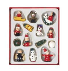 A pack of charming wooden Christmas decorations with traditional vintage designs.