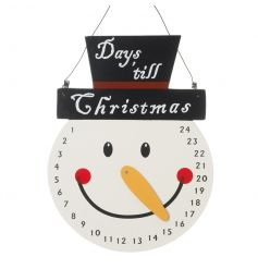 A charming wooden countdown decoration in the shape of snowman face. Simply move the carrot nose to countdown!