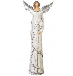 A stunning angel figure holding a heart. Complete with a touch of sparkle.