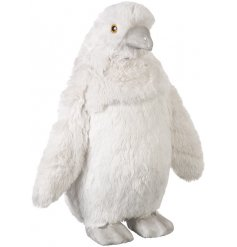 A large plush penguin decoration with a beautifully soft fabric finish.