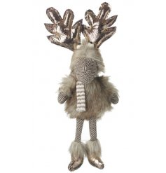 Add some festive fun to your home with this adorable hanging reindeer with bronze antlers and festive outfit!