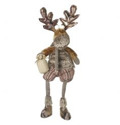 Add some festive charm to the home with this adorable reindeer shelf sitter in bronze and brown colours.