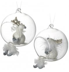 Fall in love this Christmas with this pair of charming reindeers set within glass bubbles.