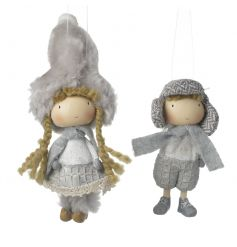 Charming boy and girl decorations dressed in winter clothes. Unique decorations to be treasured.