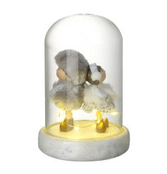 An adorable dome with a boy and girl figure in winter clothes. Finished with some twinkling led lights
