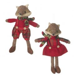 Adorable hanging fox decorations in boy and girl designs with winter outfits.