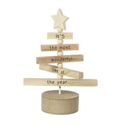 We can't resist this gorgeous wooden tree decoration with spinning branches and Christmas slogan.
