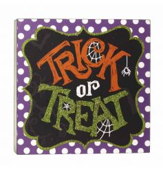 Trick Or Treat Wooden Sign 12cm