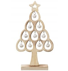 Festive wooden alpine tree with fitted hanging bells