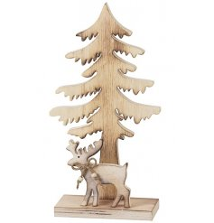 A charming wooden tree and reindeer ornament including jute bow and beads.