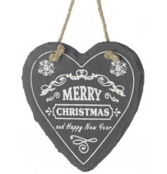 Cute christmas decorated slate heart