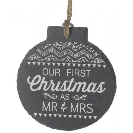 1st Christmas Hanging Slate