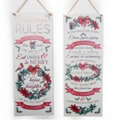Beautifully illustrated festive berry plaques with Christmas Rules and the 12 Days of Christmas.