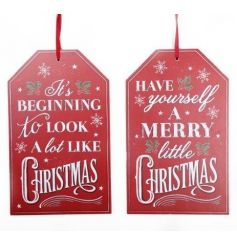 2 assorted wooden tag shaped signs in a vintage design with traditional festive slogans.