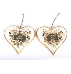 An assortment of 2 gold and cream hanging heart decorations with Christmas slogans.
